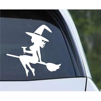 Mudflap Witch on Broom with Wine Glass Die Cut Vinyl Decal Sticker