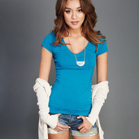 Solid V-Neck Tee   Wet Seal