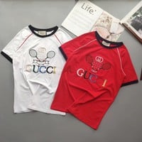 """Gucci"" Women Casual Retro Badminton Racket Letter Embroidery Short Sleeve T-shirt Top Tee"