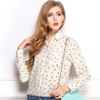 *online exclusive* sheer anchor printed button up blouse