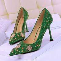 Vintage high heel suede shallow mouth pointed rhinestone metal decoration rhinestone rivet sexy single shoes green