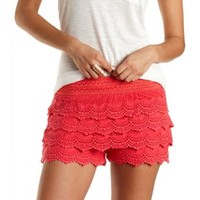 Scalloped Crochet High-Waisted Shorts by Charlotte Russe - Coral
