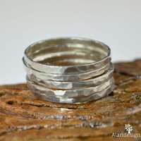 Set of 5 .999 Pure Silver Stackable Rings
