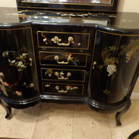 Asian Vanity Table Set, Hand Painted Black Lacquer Chinese Style Furniture Set, Vanity Table, Asian Gold Bench, Asian Hand Painted Mirror