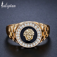 Iutopian Brand Lion King Amazing Man Made Ring Anels For Men European Hero Style Rose  Color Us Size 7 to 12 #PB0001