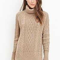 Wool-Blend Cable Knit Sweater