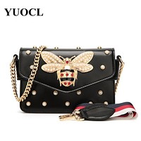 Bee Pearl Crossbody Bags For Women 2021 Chains Bee Luxury Handbags Designer Famous Brand Shoulder Bag Hand Sac A Main Female