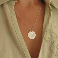 Sterling Silver Mothers Necklace / Kids Names Round Pendant with Birthstones / Mom Gift / Children's Name Necklace
