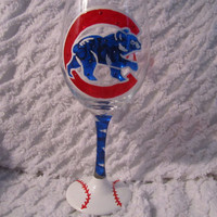 Chicago Cubs Hand Painted Wine Glass by 2blondesandbling on Etsy