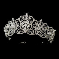 Silver Clear Rhinestone Floral Bridal Royal Tiara Headpiece from Claudia's Elegant Boutique