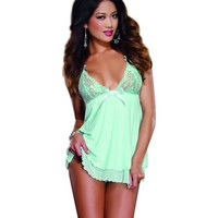 Dreamgirl Women's My True Beauty Babydoll and Thong Set