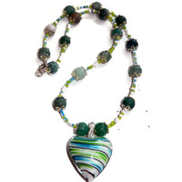 Striped Green and Teal Striped Glass Heart Pendant on Beaded Teal and Green Necklace, Summer Necklace