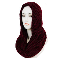 """""""Classic"""" Thick Crochet Burgundy Hooded Infinity Scarf"""