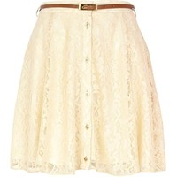Cream lace button down skater skirt - skater skirts - skirts - women