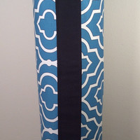 Handmade Yoga Mat Bag, Yoga Tote, Yoga Mat Carrier - Teal, White and Black with Shoulder Strap and Drawstring