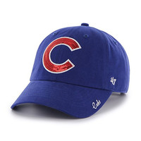 MLB Chicago Cubs Womens Sparkle Team color '47 Clean Up Adjustable Hat, Royal, Women's,Royal