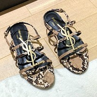 YSL Saint Laurent Sandals Ladies Fashion Snake Print Brown Sexy Line Metal Letter Slippers Black insole
