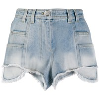 Washed Raw Denim Hi-Rise Shorts by Balmain