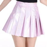Glitters For Dinner — Made To Order - Baby Pink Hologram Pleated Skirt