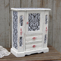 Jewelry Armoire, Shabby Chic Jewelry Box, Damask, Black, White, Red, Upcycled, Hand Painted, Wood, Distressed, Jewelry Organizer