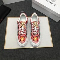 Versace Men's Leather Fashion Low Top Sneakers Shoes-KUYOU