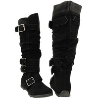 Womens Knee High Boots Ruched Leather Buckles Knitted Calf Black SZ
