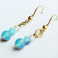 Iridescent Blue Bead Earrings - Blue and Gold Beaded Jewelry - Blue Drop Earrings - Blue Beaded Earrings - Gold Dangle Earrings - SALE