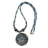 Blue and Silver  Beaded Necklace with Pendant and Pearls