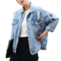 2016 New Fashion Pearl Beading Ripped Hole Boyfriend Denim Jacket Woman Casual Loose Coat Jeans Jackets OUtwear Chaquetas Mujer