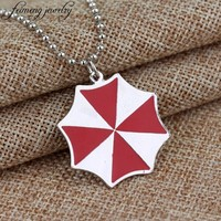 feimeng jewelry Resident Evil Necklace Red Enamel Umbrella Corporation Pendant Necklace For Men And Women