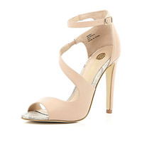 River Island Womens Pink textured asymmetric wrap front sandals