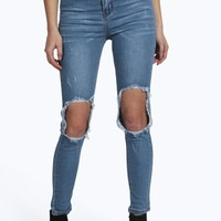 Mia High Rise Distressed Open Knee Skinny Jeans