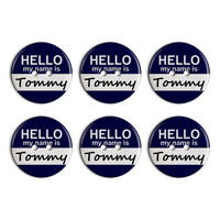 Tommy Hello My Name Is Plastic Resin Button Set of 6