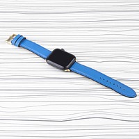 Apple Watch Band Blue Premium Leather