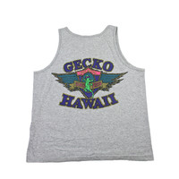 Vintage 90s Gecko Hawaii Gray Tank Top Made in USA Mens Size Large