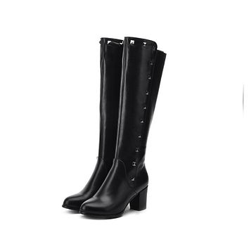 Rivets Chunky Heel Knee High Boots Black White Gray 8927