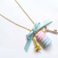 Pastel Macaron Trio Eiffel Tower Necklace, Gold Plated :)