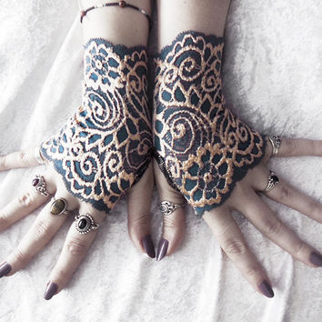 Ferrotype Lace Fingerless Gloves - Prussian Blue Pale Gold Floral - Victorian Wedding Gothic Vampire Belly Dance Goth Bohemian Bridal Mori