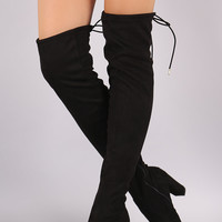 Bamboo Fitted OTK Chunky Heel Boots