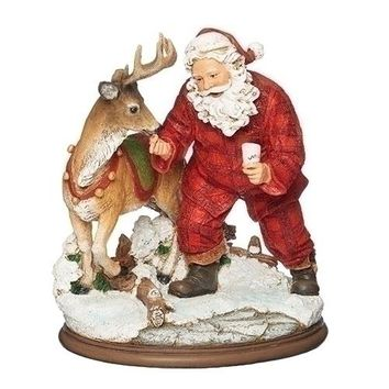 Roman Santa Feeding Reindeer Milk and Cookies-132293