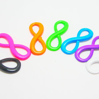 Infinity Eight Connector Charms Fluorescent Neon Colors Mix 4394