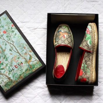 Gucci Cloth fisherman shoes Print Bird Snadals