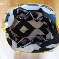 Ready to ship! Weekender in Large Charcoal Gray Chevron with solid Yellow Diaper Bag Overnight