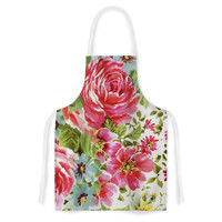 "Heidi Jennings ""Walk Through The Garden"" Pink Flowers Artistic Apron"