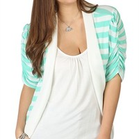 Plus Size Elbow Sleeve Striped Cozy 2fer with Matching Inset