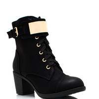 Just-Plating-Around-Lace-Up-Boots BLACK - GoJane.com