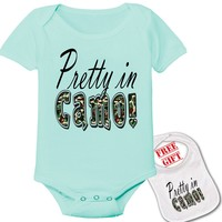 """"""" Pretty in Camo"""" Sports Novelty theme Onesuit & bib (Available in 5 Colors, Click to view)"""