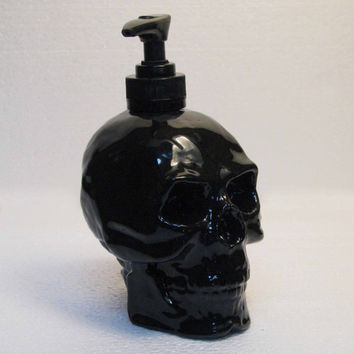 Human Skull Pump Dispenser in Shiny Black Ceramic Lotion Soap Bottle