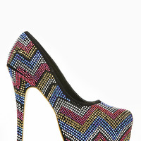 Mascotte Zig Zag Bejeweled Almond Toe Pumps