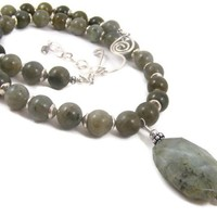 Handmade Labradorite Gray Beaded Gemstone Necklace with Faceted Pendant & Sterling Silver Beads in a Classic Design